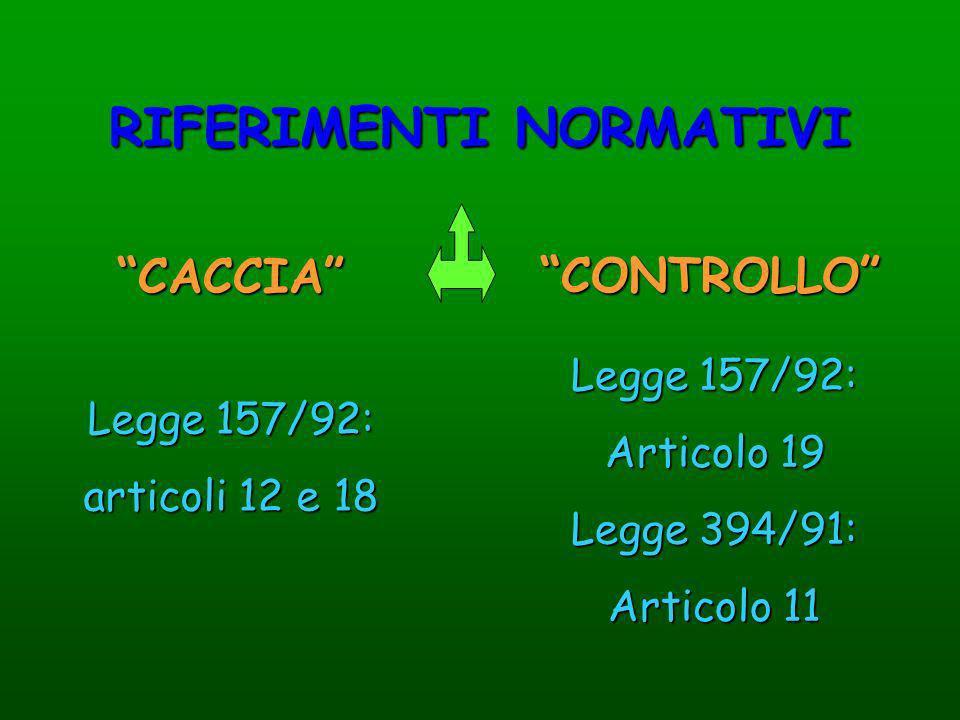 RIFERIMENTI NORMATIVI CACCIA CONTROLLO Legge 157/92: articoli 12 e 18 Legge 157/92: Articolo 19 Legge 394/91: Articolo 11