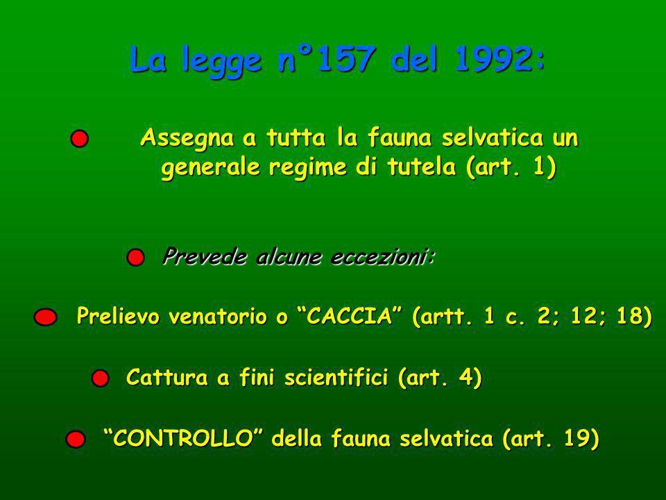 Prevede alcune eccezioni: Assegna a tutta la fauna selvatica un generale regime di tutela (art. 1) Prelievo venatorio o CACCIA (artt. 1 c. 2; 12; 18)