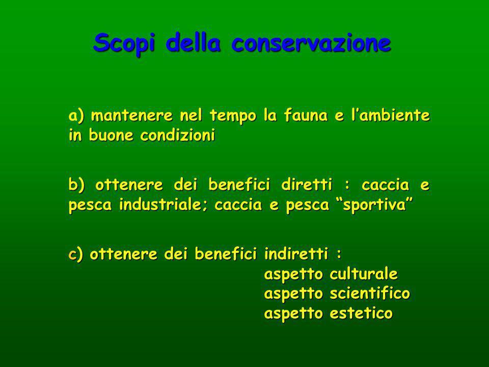 ) mantenere nel tempo la fauna e lambiente in buone condizioni a) mantenere nel tempo la fauna e lambiente in buone condizioni Scopi della conservazio