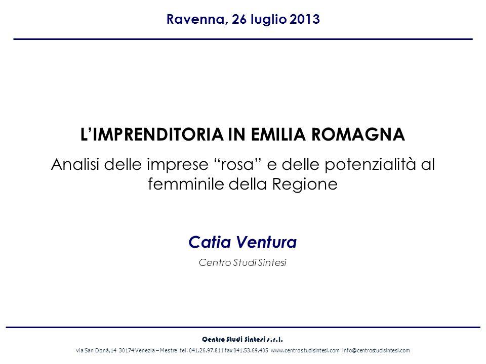 A cura di I NUMERI DELLE IMPRESE ROSA IN EMILIA ROMAGNA Il 20,9% delle imprese registrate al 31 marzo 2013 in Emilia Romagna sono gestite da donne.