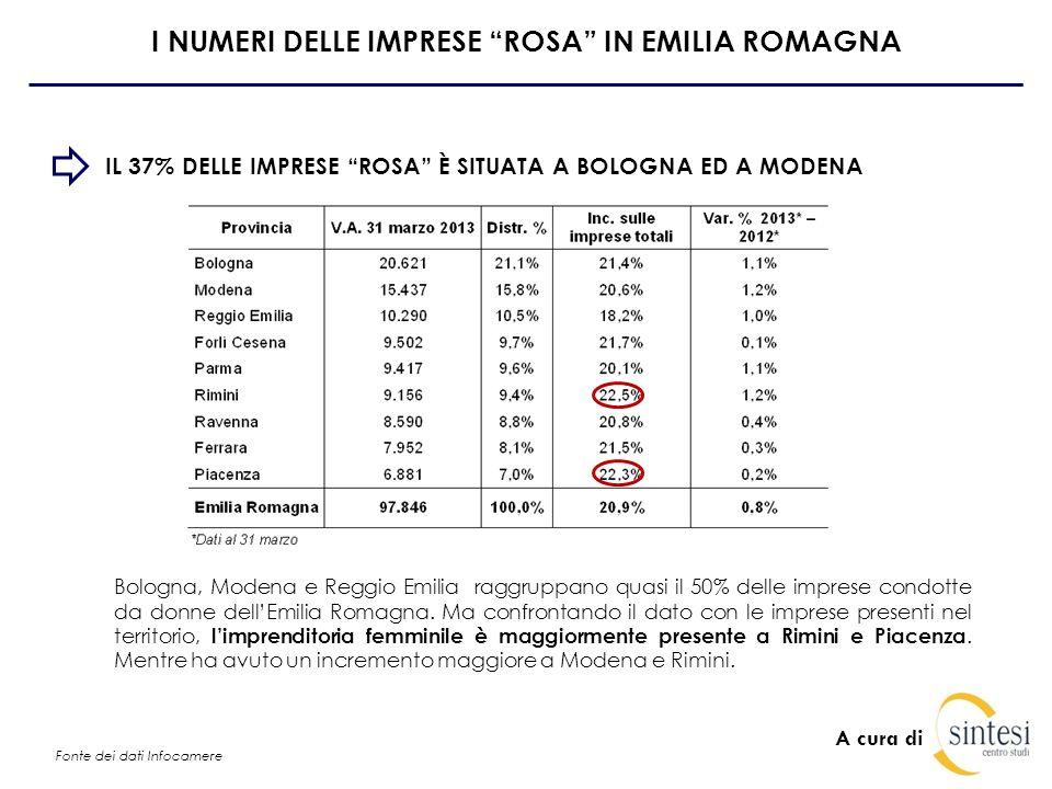 A cura di I NUMERI DELLE IMPRESE ROSA IN EMILIA ROMAGNA IL 28% DELLE IMPRESE ROSA SI OCCUPA DI COMMERCIO Forte presenza di imprenditoria femminile nel commercio (27,6%), nellagricoltura (15,4%) e nei servizi sia alle imprese che alle persone.