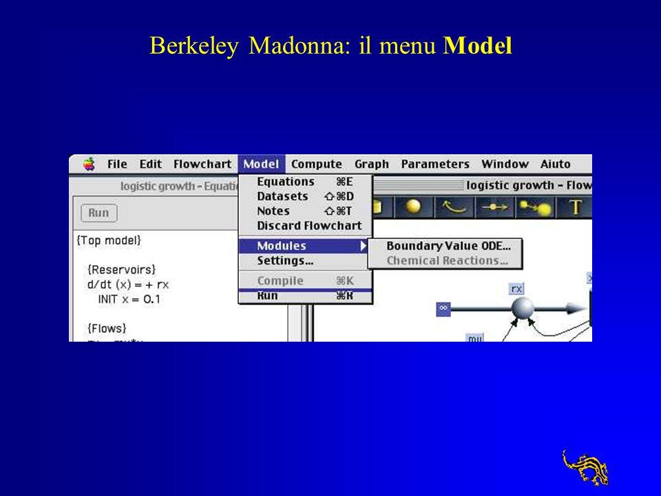 Berkeley Madonna: il menu Model