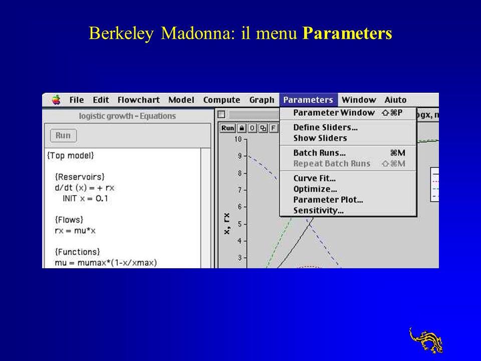 Berkeley Madonna: il menu Parameters