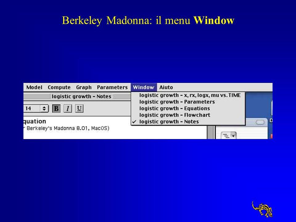 Berkeley Madonna: il menu Window