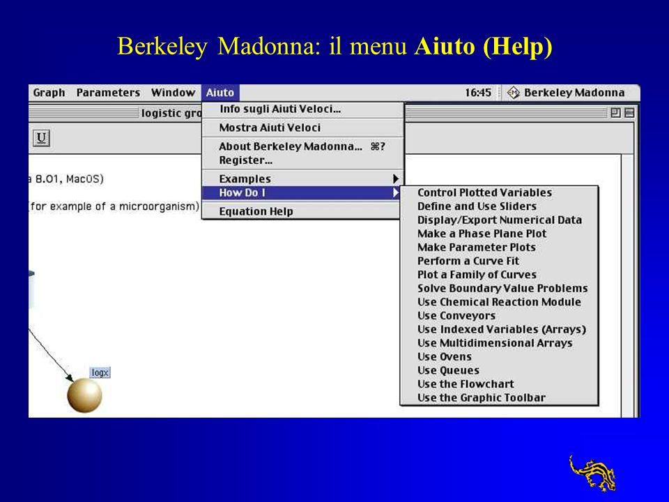 Berkeley Madonna: il menu Aiuto (Help)