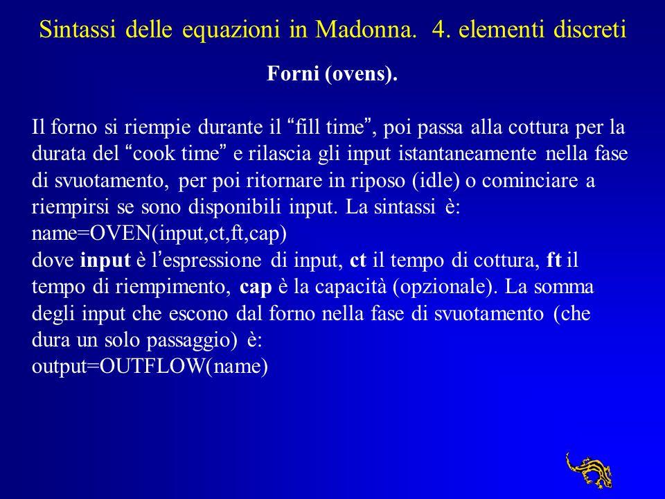 Sintassi delle equazioni in Madonna. 4. elementi discreti Forni (ovens). Il forno si riempie durante il fill time, poi passa alla cottura per la durat