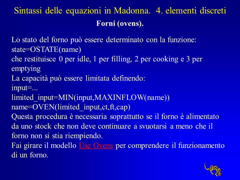 Sintassi delle equazioni in Madonna. 4. elementi discreti Forni (ovens). Lo stato del forno può essere determinato con la funzione: state=OSTATE(name)