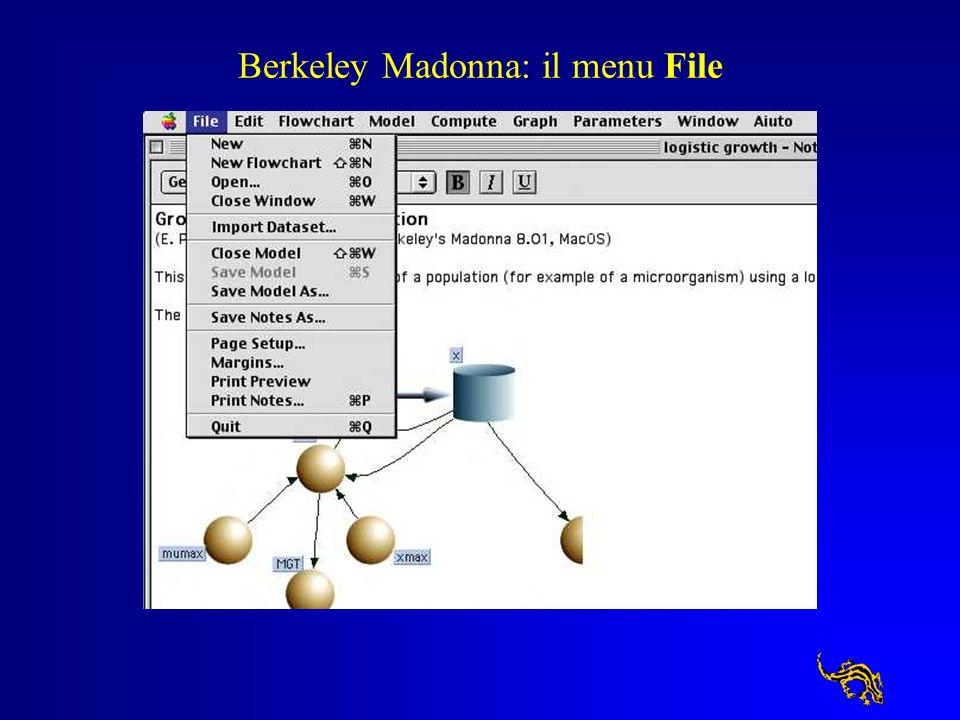Berkeley Madonna: il menu File