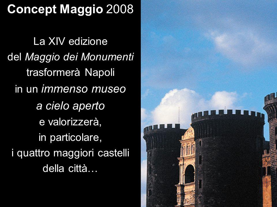 Concept Maggio 2008 La XIV edizione del Maggio dei Monumenti trasformerà Napoli in un immenso museo a cielo aperto e valorizzerà, in particolare, i qu