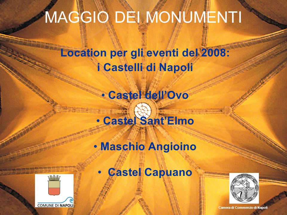 MAGGIO DEI MONUMENTI Location per gli eventi del 2008: i Castelli di Napoli Castel dellOvo Castel SantElmo Maschio Angioino Castel Capuano Camera di C