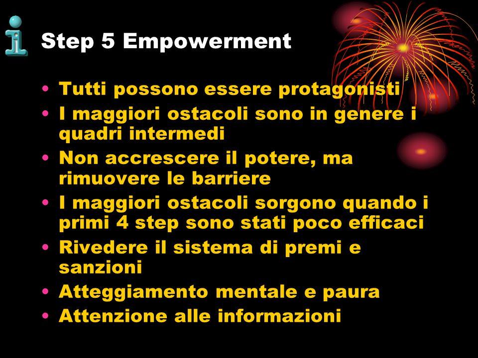 Step 5 Empowerment Tutti possono essere protagonisti I maggiori ostacoli sono in genere i quadri intermedi Non accrescere il potere, ma rimuovere le b