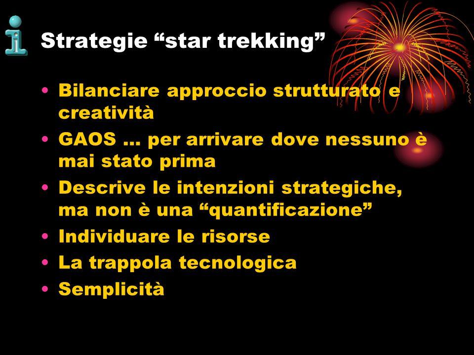 Strategie star trekking Bilanciare approccio strutturato e creatività GAOS … per arrivare dove nessuno è mai stato prima Descrive le intenzioni strate