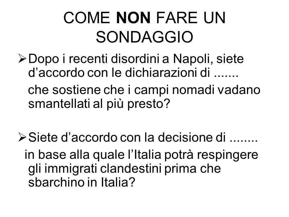 COME NON FARE UN SONDAGGIO Dopo i recenti disordini a Napoli, siete daccordo con le dichiarazioni di....... che sostiene che i campi nomadi vadano sma