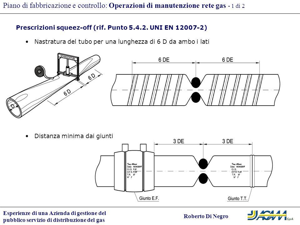 Esperienze di una Azienda di gestione del pubblico servizio di distribuzione del gas Roberto Di Negro Piano di fabbricazione e controllo: Operazioni d