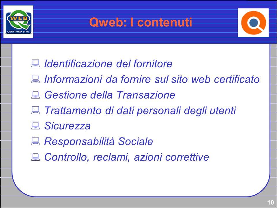 10 Qweb: I contenuti Identificazione del fornitore Informazioni da fornire sul sito web certificato Gestione della Transazione Trattamento di dati per