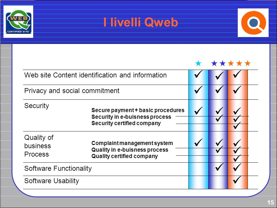 15 I livelli Qweb Web site Content identification and information Privacy and social commitment Security Quality of business Process Software Function