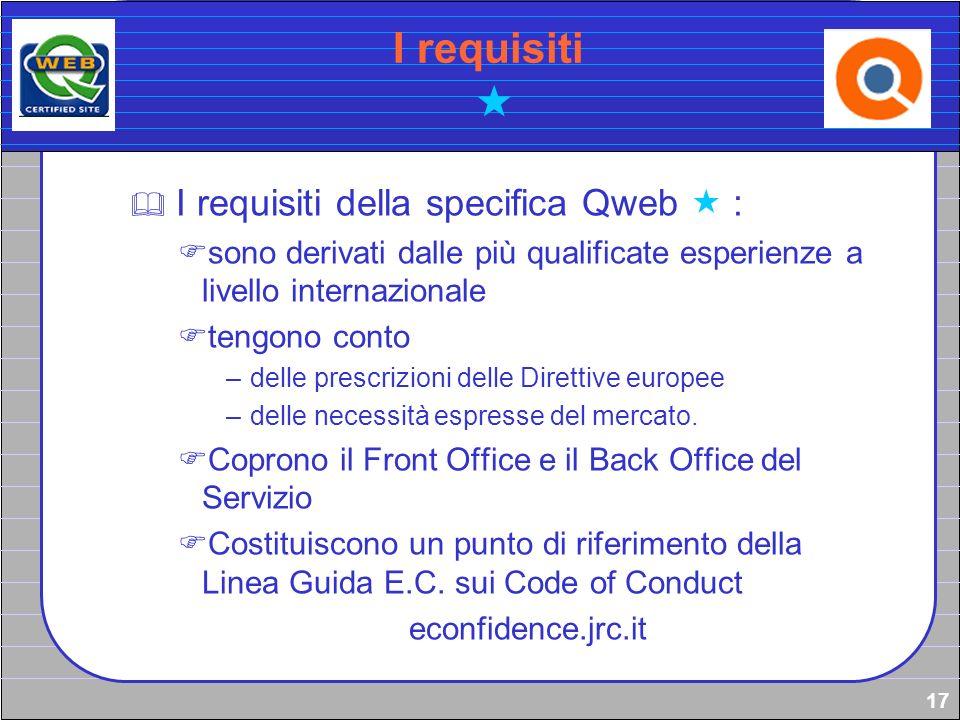 17 I requisiti I requisiti della specifica Qweb : sono derivati dalle più qualificate esperienze a livello internazionale tengono conto –delle prescri