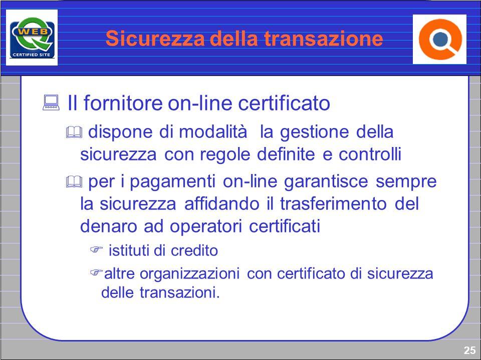 25 Sicurezza della transazione Il fornitore on-line certificato dispone di modalità la gestione della sicurezza con regole definite e controlli per i