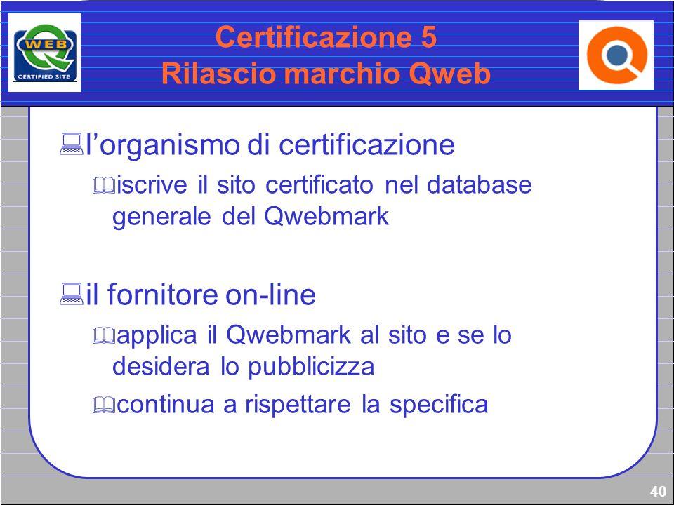 40 Certificazione 5 Rilascio marchio Qweb lorganismo di certificazione iscrive il sito certificato nel database generale del Qwebmark il fornitore on-