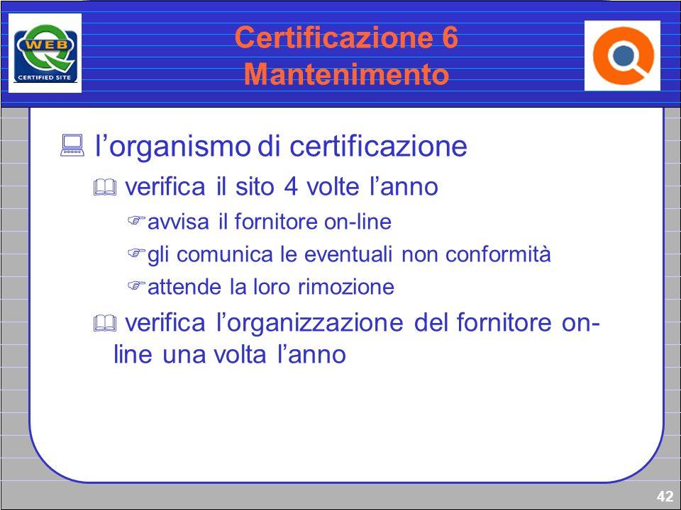 42 Certificazione 6 Mantenimento lorganismo di certificazione verifica il sito 4 volte lanno avvisa il fornitore on-line gli comunica le eventuali non