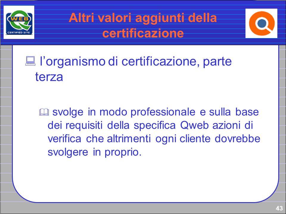 43 Altri valori aggiunti della certificazione lorganismo di certificazione, parte terza svolge in modo professionale e sulla base dei requisiti della