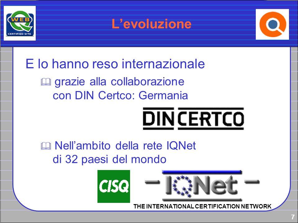 7 Levoluzione E lo hanno reso internazionale grazie alla collaborazione con DIN Certco: Germania Nellambito della rete IQNet di 32 paesi del mondo THE