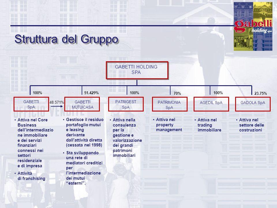 Struttura del Gruppo Gestisce il residuo portafoglio mutui e leasing derivante dallattività diretta (cessata nel 1998) Sta sviluppando una rete di med