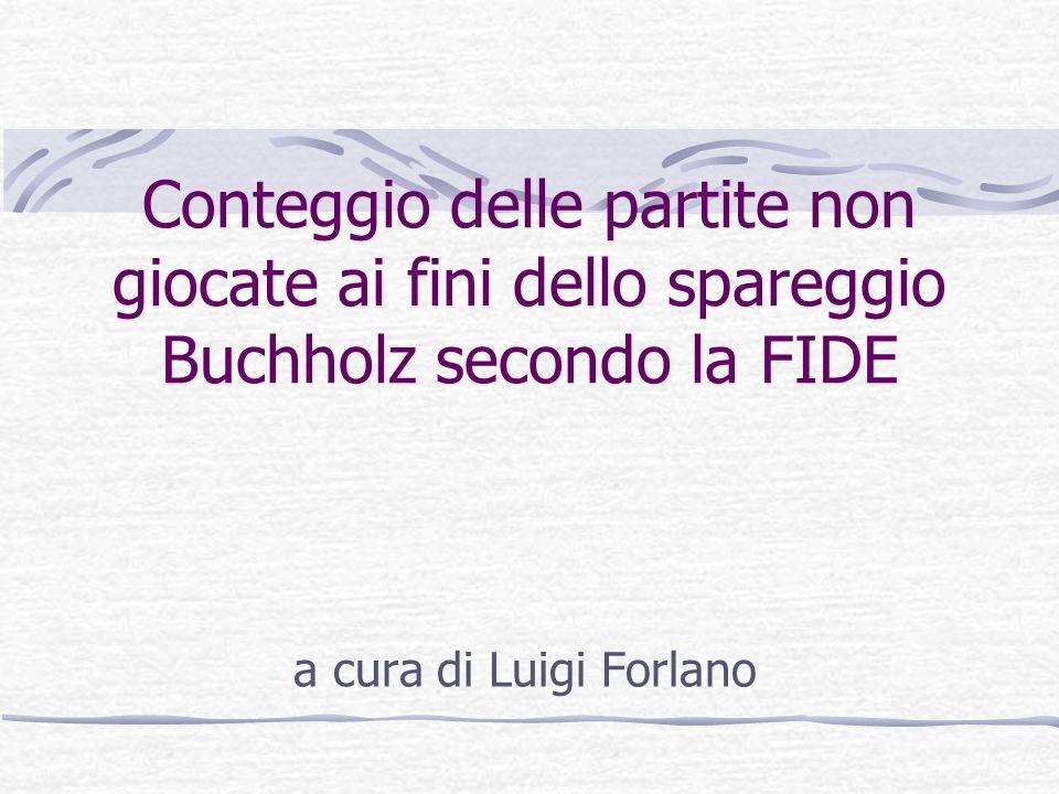 Conteggio delle partite non giocate ai fini dello spareggio Buchholz secondo la FIDE a cura di Luigi Forlano
