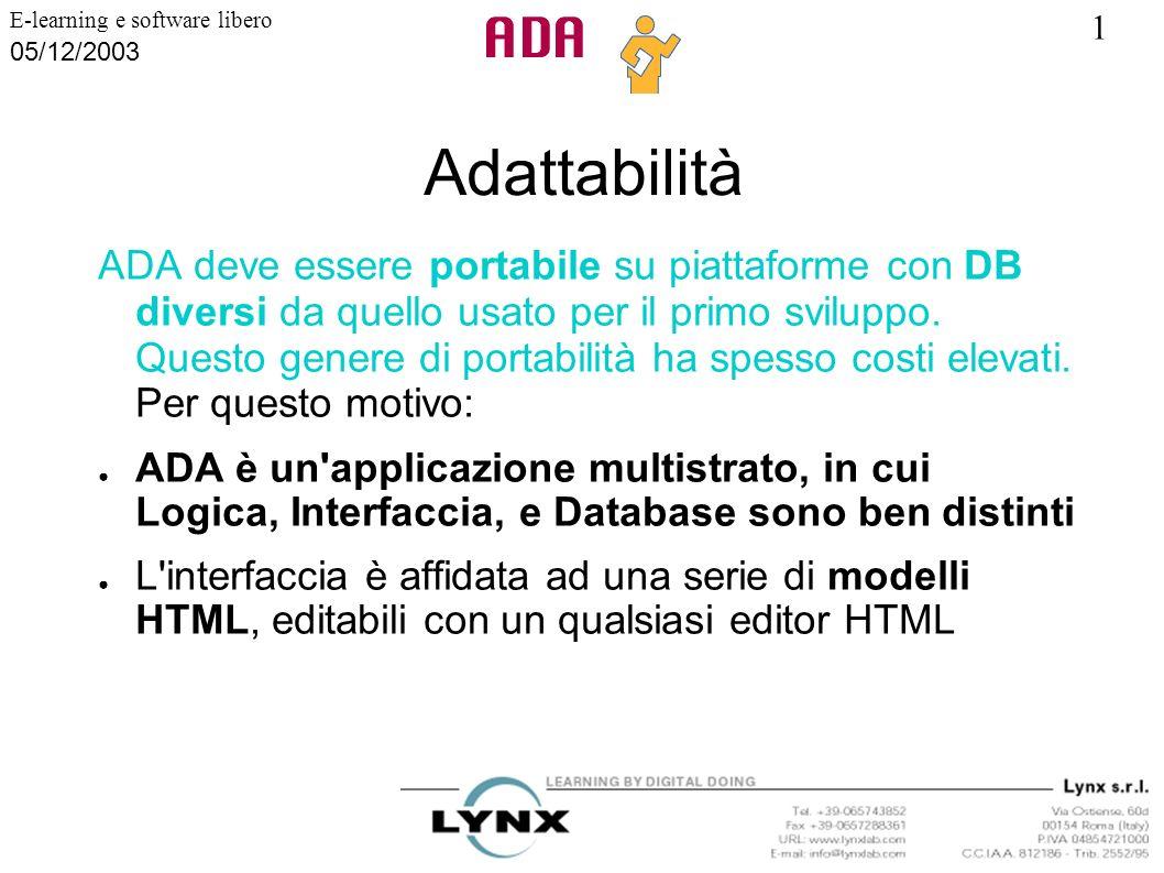 1 E-learning e software libero 05/12/2003 Adattabilità ADA deve essere portabile su piattaforme con DB diversi da quello usato per il primo sviluppo.