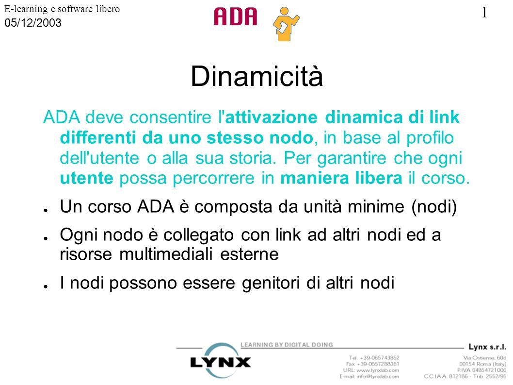 1 E-learning e software libero 05/12/2003 Dinamicità ADA deve consentire l'attivazione dinamica di link differenti da uno stesso nodo, in base al prof