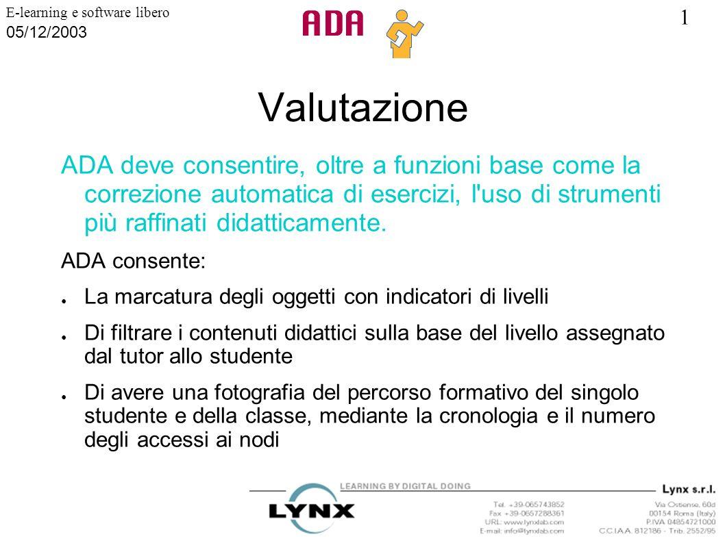 1 E-learning e software libero 05/12/2003 Valutazione ADA deve consentire, oltre a funzioni base come la correzione automatica di esercizi, l'uso di s
