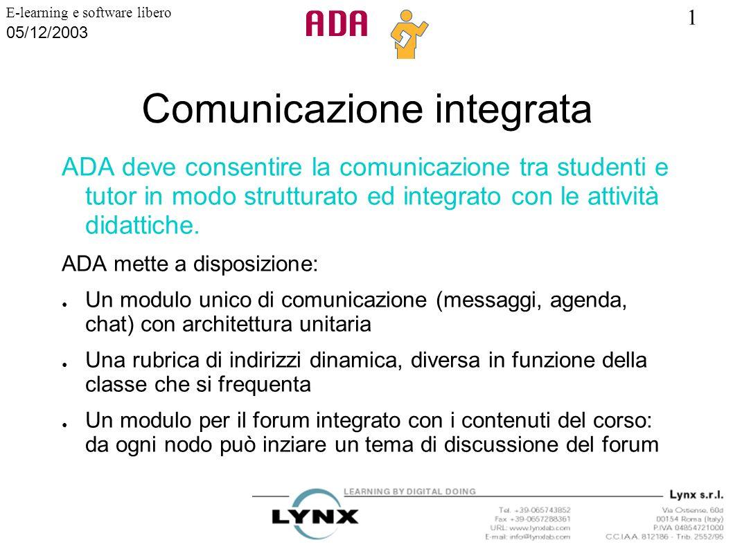 1 E-learning e software libero 05/12/2003 Comunicazione integrata ADA deve consentire la comunicazione tra studenti e tutor in modo strutturato ed int