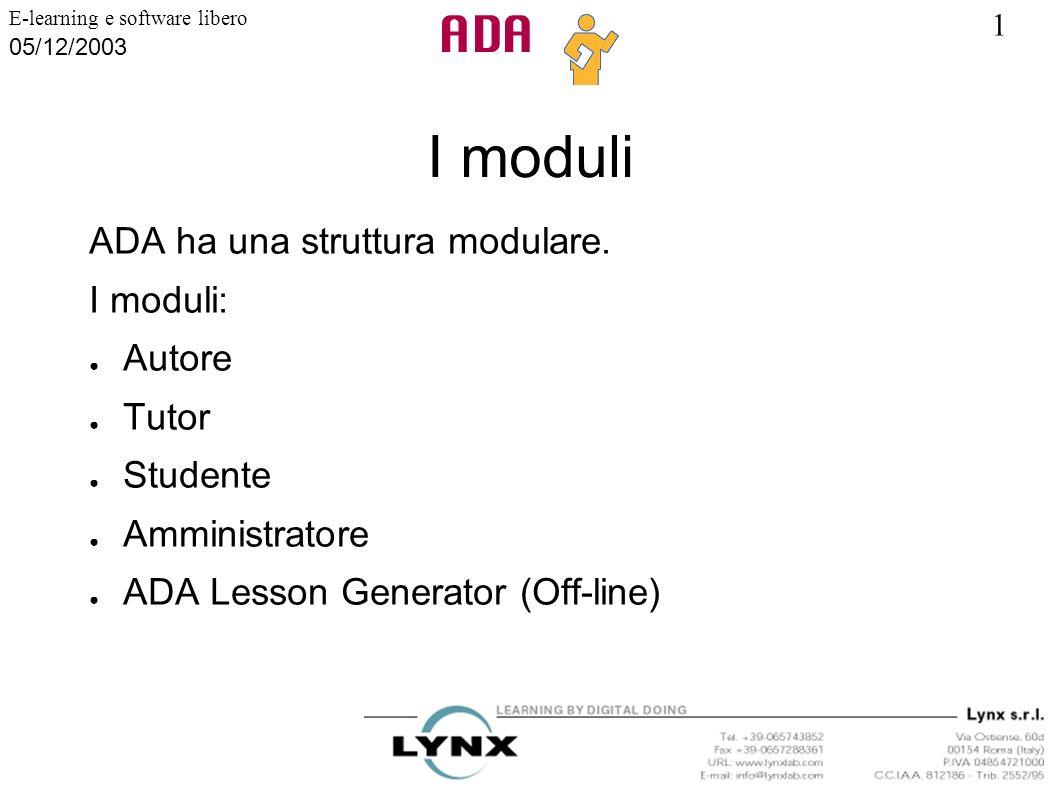 1 E-learning e software libero 05/12/2003 I moduli ADA ha una struttura modulare. I moduli: Autore Tutor Studente Amministratore ADA Lesson Generator