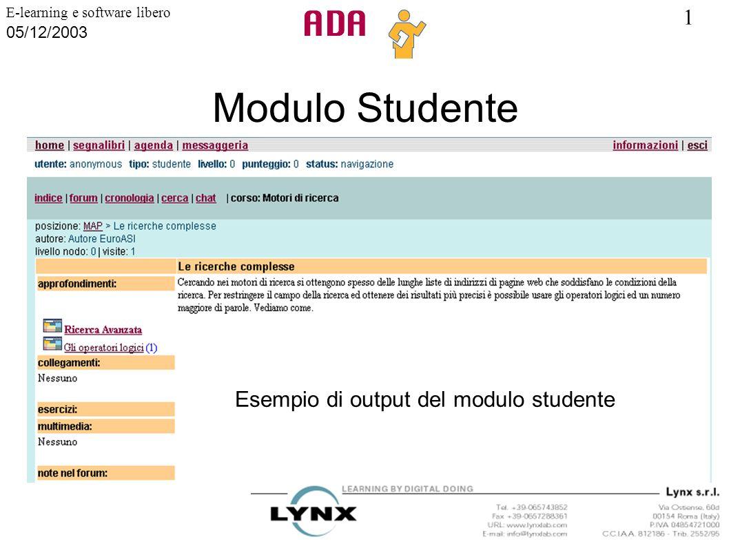1 E-learning e software libero 05/12/2003 Modulo Studente Esempio di output del modulo studente