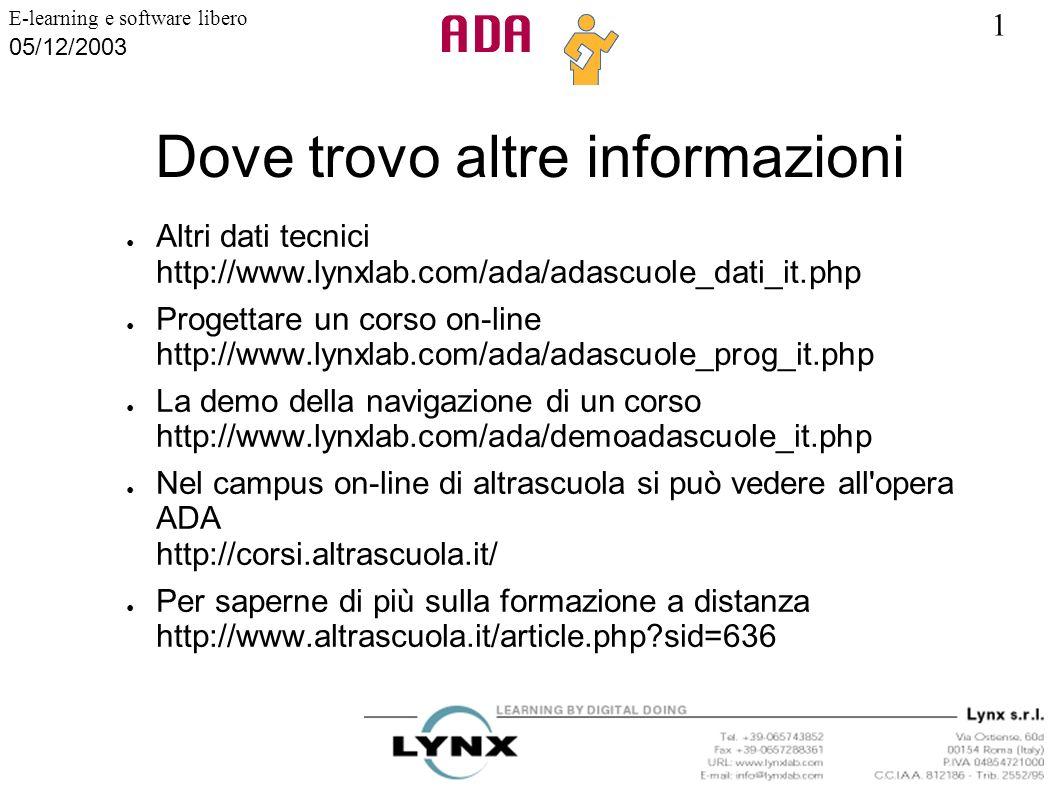 1 E-learning e software libero 05/12/2003 Dove trovo altre informazioni Altri dati tecnici http://www.lynxlab.com/ada/adascuole_dati_it.php Progettare