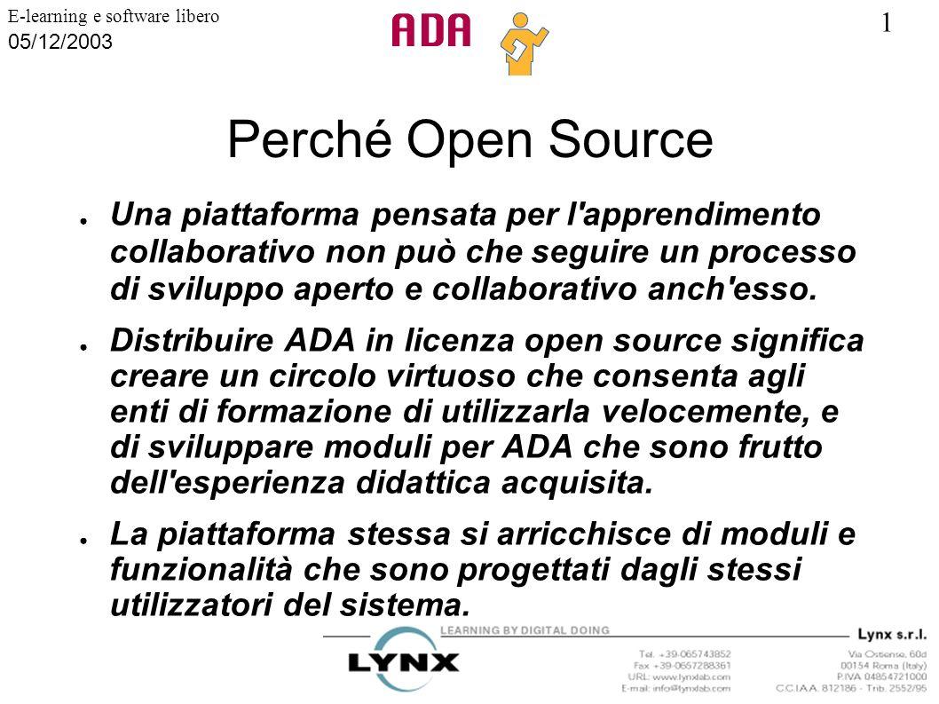 1 E-learning e software libero 05/12/2003 Perché Open Source Una piattaforma pensata per l'apprendimento collaborativo non può che seguire un processo