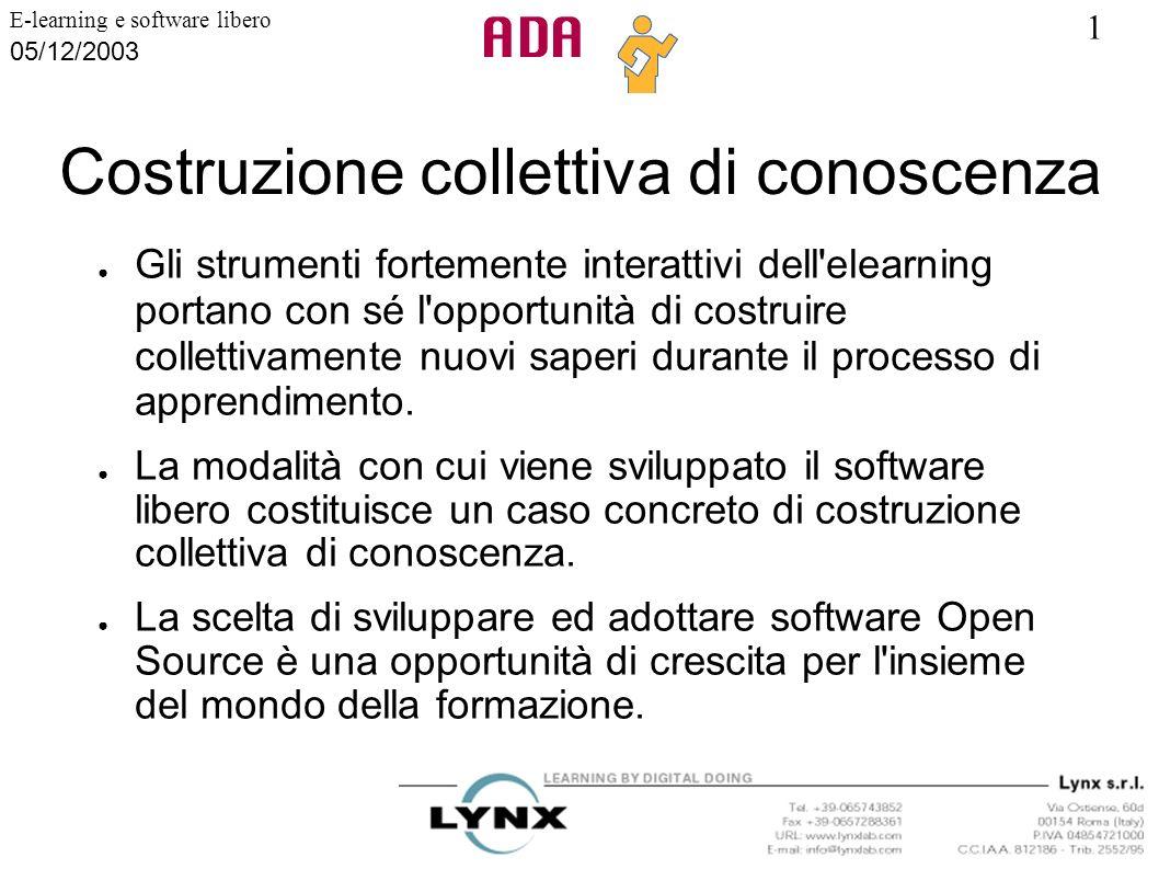 1 E-learning e software libero 05/12/2003 Costruzione collettiva di conoscenza Gli strumenti fortemente interattivi dell'elearning portano con sé l'op