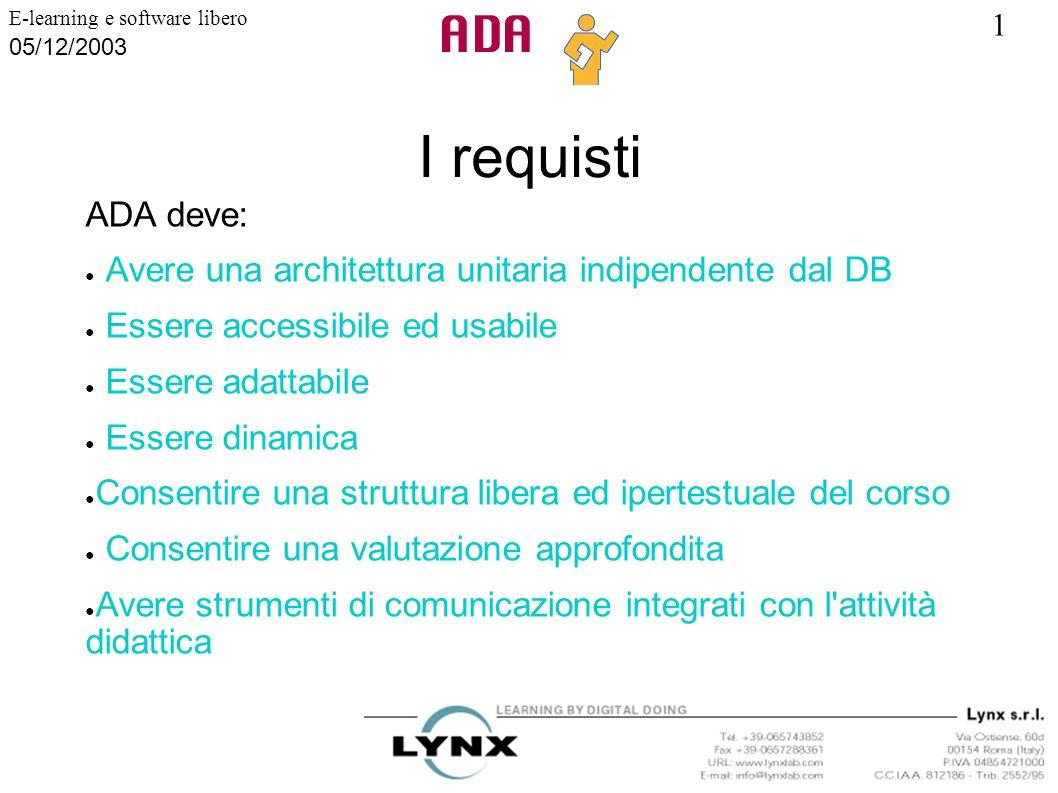 1 E-learning e software libero 05/12/2003 I requisti ADA deve: Avere una architettura unitaria indipendente dal DB Essere accessibile ed usabile Esser