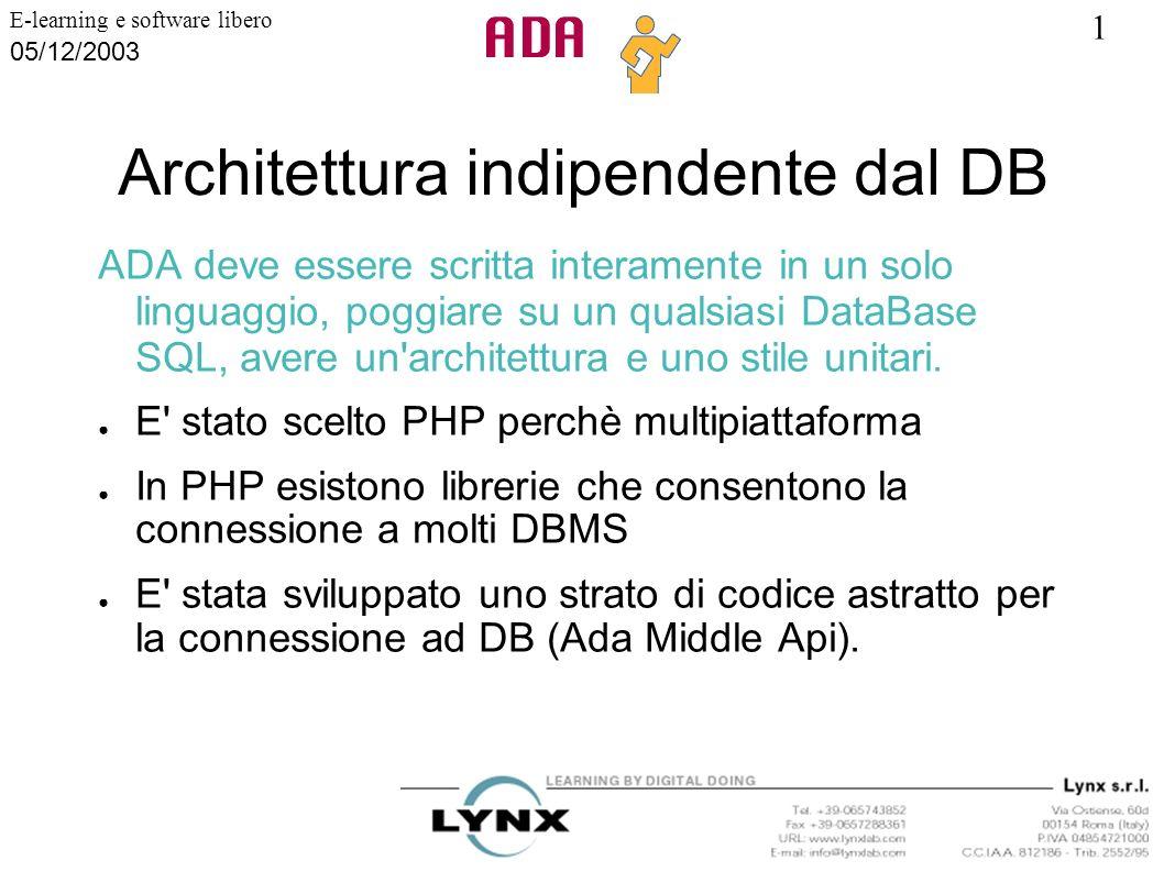 1 E-learning e software libero 05/12/2003 Architettura indipendente dal DB ADA deve essere scritta interamente in un solo linguaggio, poggiare su un q