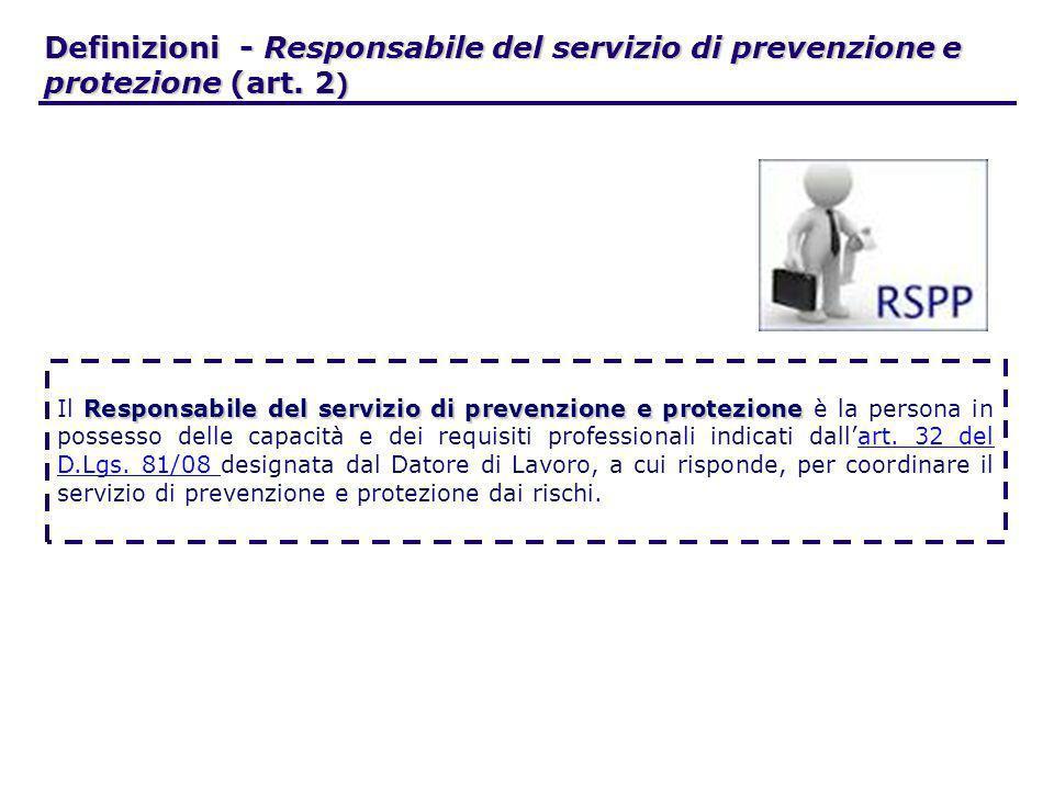 Definizioni - Responsabile del servizio di prevenzione e protezione (art. 2 ) Responsabile del servizio di prevenzione e protezione Il Responsabile de