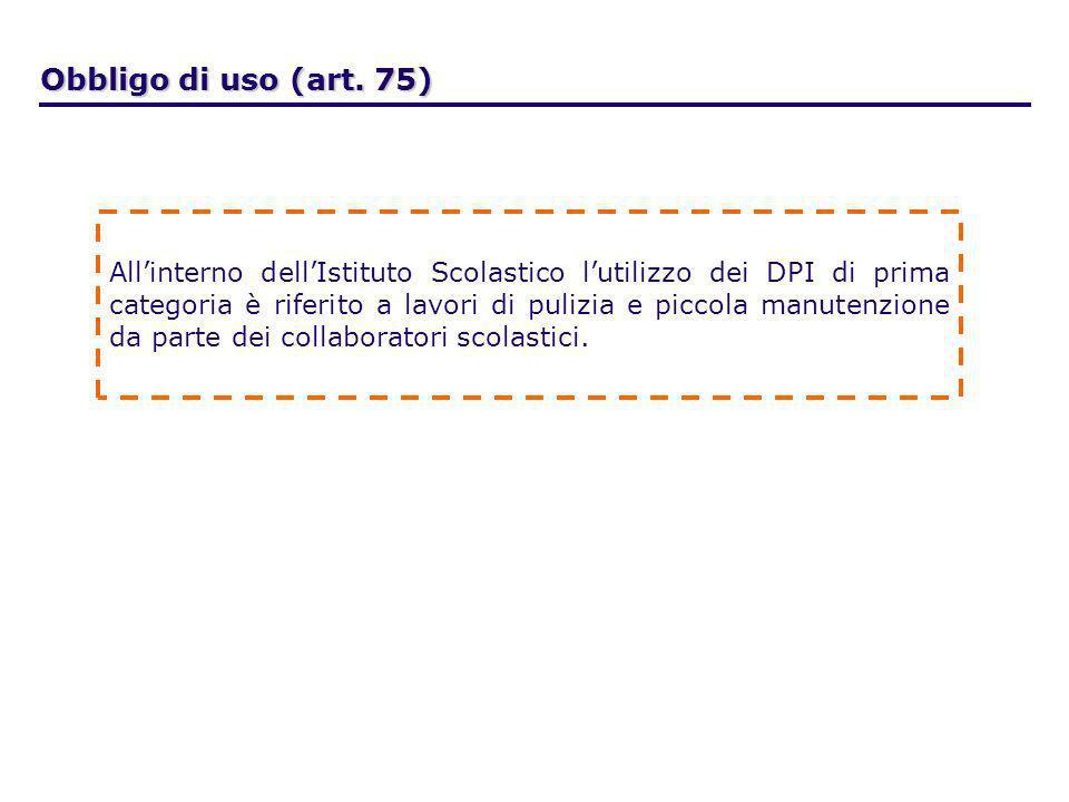 Obbligo di uso (art. 75) Allinterno dellIstituto Scolastico lutilizzo dei DPI di prima categoria è riferito a lavori di pulizia e piccola manutenzione