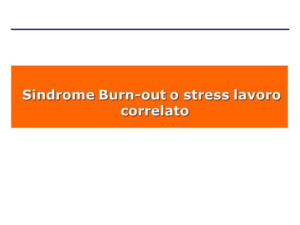 Sindrome Burn-out o stress lavoro correlato Sindrome Burn-out o stress lavoro correlato