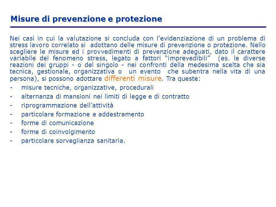 Nei casi in cui la valutazione si concluda con levidenziazione di un problema di stress lavoro correlato si adottano delle misure di prevenzione o pro