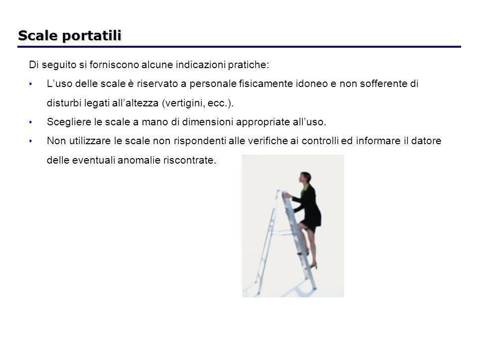 Scale portatili Di seguito si forniscono alcune indicazioni pratiche: Luso delle scale è riservato a personale fisicamente idoneo e non sofferente di