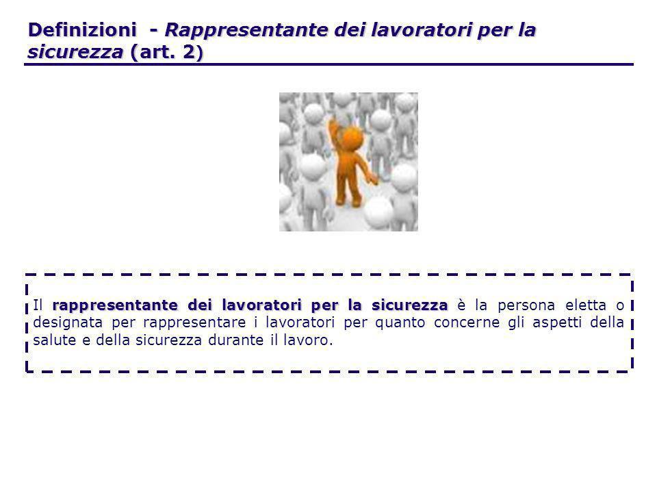 Definizioni - Rappresentante dei lavoratori per la sicurezza (art. 2 ) rappresentante dei lavoratori per la sicurezza Il rappresentante dei lavoratori