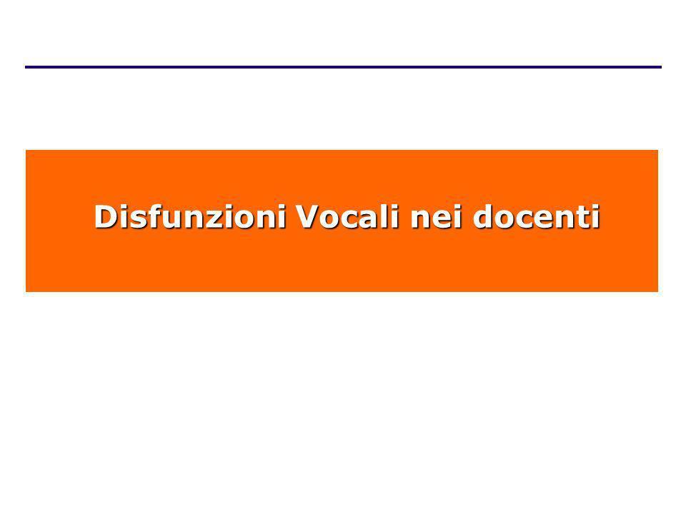 Disfunzioni Vocali nei docenti Disfunzioni Vocali nei docenti