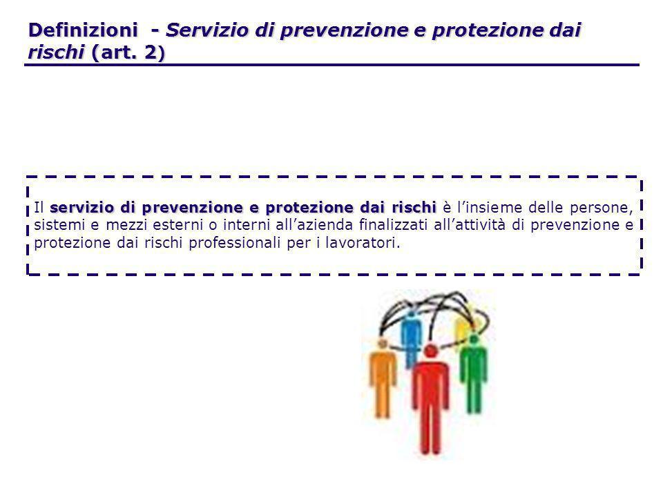 Definizioni - Servizio di prevenzione e protezione dai rischi (art. 2 ) servizio di prevenzione e protezione dai rischi Il servizio di prevenzione e p