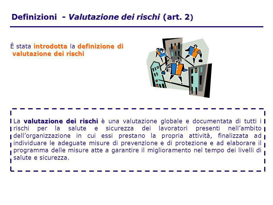Definizioni - Valutazione dei rischi (art. 2 ) valutazione dei rischi La valutazione dei rischi è una valutazione globale e documentata di tutti i ris