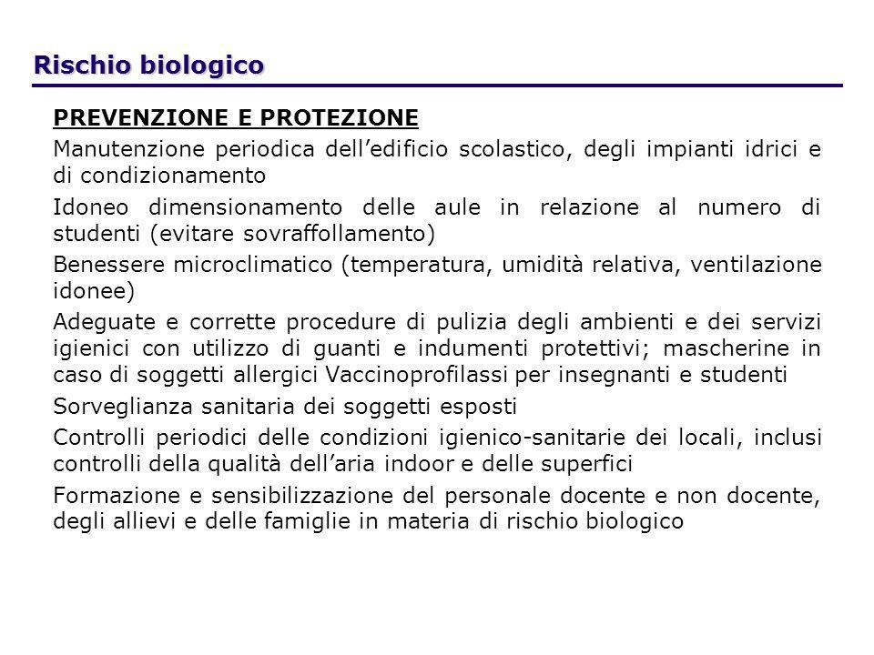 Rischio biologico PREVENZIONE E PROTEZIONE Manutenzione periodica delledificio scolastico, degli impianti idrici e di condizionamento Idoneo dimension