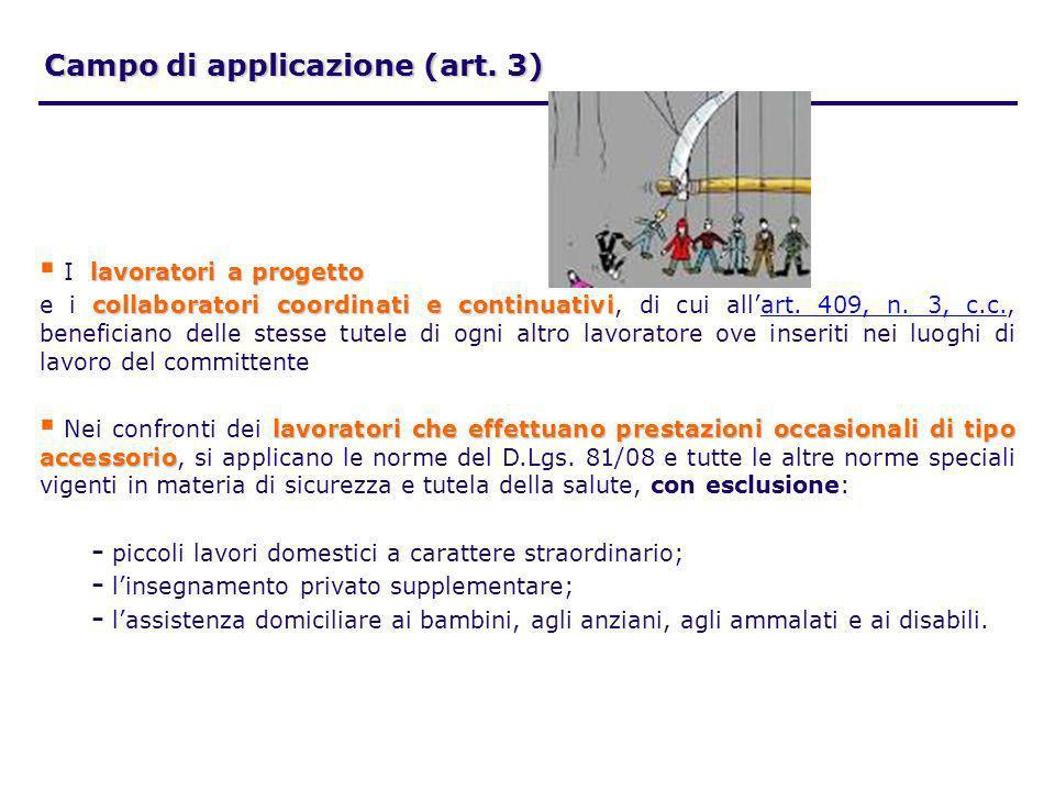Campo di applicazione (art. 3) lavoratori a progetto I lavoratori a progetto collaboratori coordinati e continuativi e i collaboratori coordinati e co